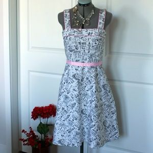Novelty Print Fit and Flare Dress